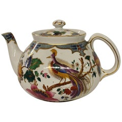 "Old English Booth's Earthenware Hand Painted ""Peacock"" Motif Teapot, Staffs"