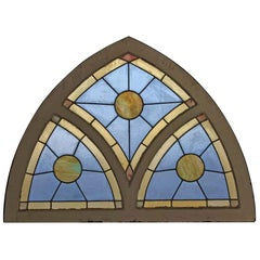 1940s Arched Stained and Slag Glass Window with White Wood Frame