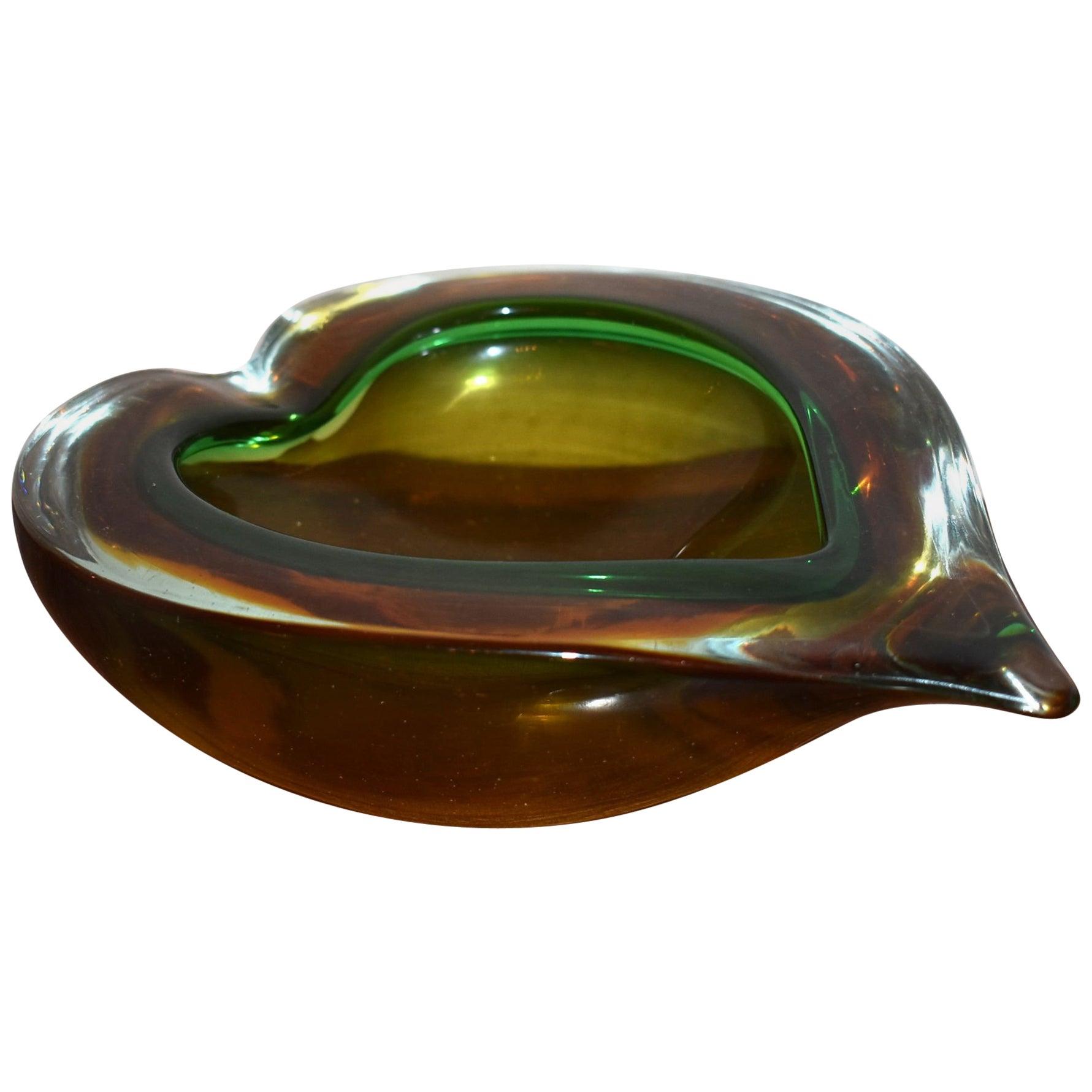 1960s Large Heart Shaped Murano Glass Ashtray Bowl