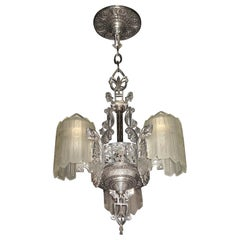 Glorious Three Shade Art Deco Chandelier, Late 1920s