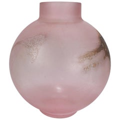 Huge Cenedese Pink Scavo Spherical or Globe Shaped Murano Glass Vase