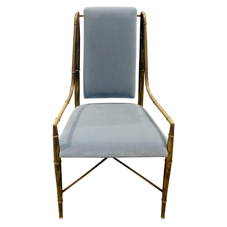 Mastercraft Elegant Chair with Bronze Frame with Bamboo Motif 1970s For Sale