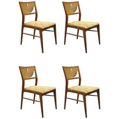 4 Danish MCM Walnut Cane Back Dining Chairs after TH Robsjohn Gibbings