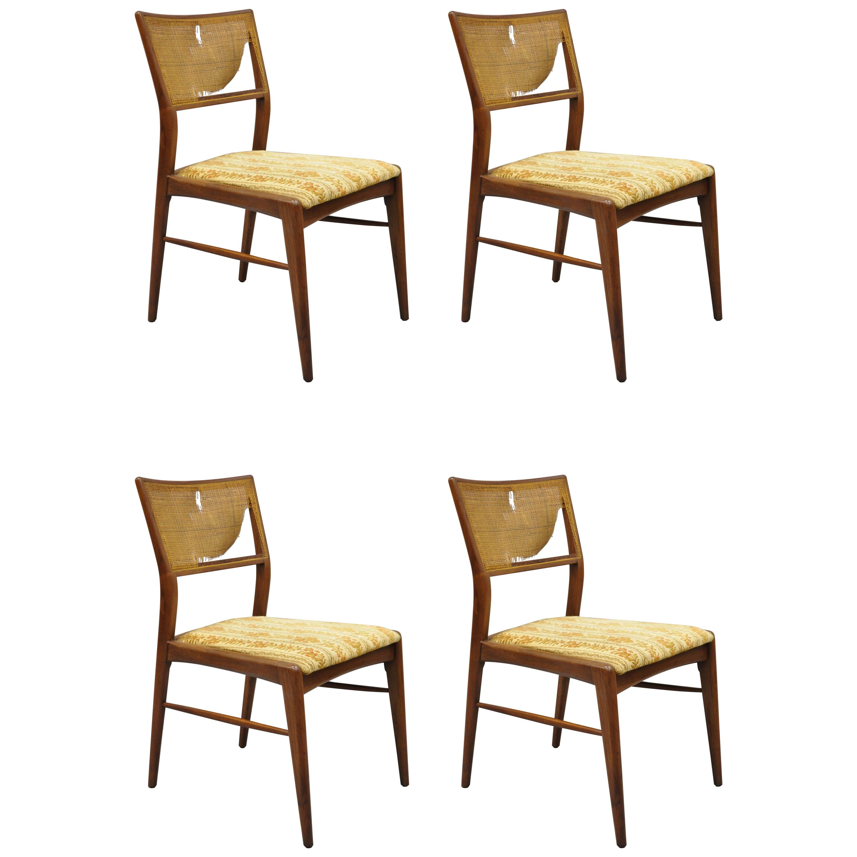 4 Danish MCM Walnut Cane Back Dining Chairs after TH Robsjohn Gibbings