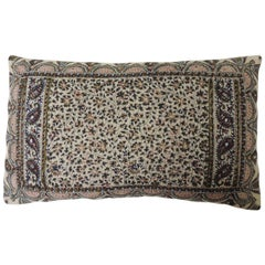 Vintage Hand-Blocked Kalamkari Lumbar Decorative Throw Pillow