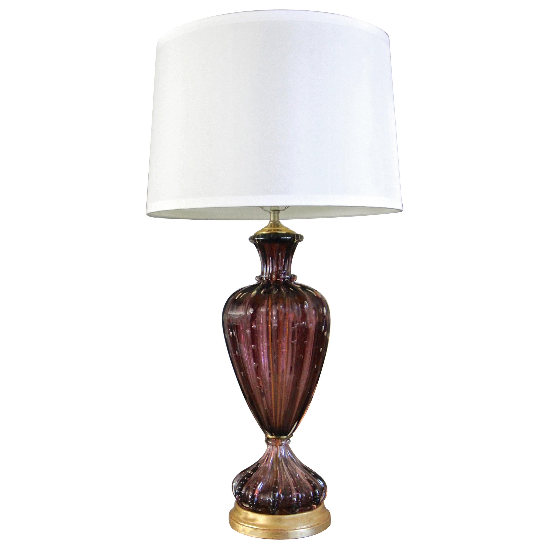 Purple Murano Italian Controlled Bubbles Ribbed Glass Table Lamp
