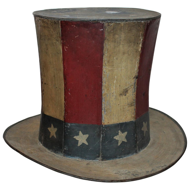 19th Century Original Painted Tin Large Trade Sign/Hat For Sale