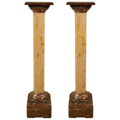Pair of Italian 19th Century Louis XVI St. Pedestal Columns of Various Marbles