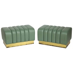 Pair of Italian Leather and Brass Stools or Benches, Italy