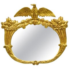 19th Century Gold Gilt Gesso Federal Style Eagle Wall Mirror with Cornucopia
