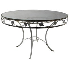 Large Scale Wrought Iron and Glass Patio Table