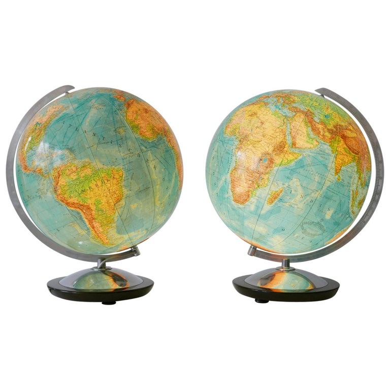 Set of Two Midcentury Columbus Duo Earth Globes or Side Table Lamps, 1960s For Sale
