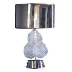Impressive Murano Glass and Chrome Table Lamp