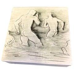 'Bathers,' Rare Midcentury Box with Nude Male Figures, Laguna Beach