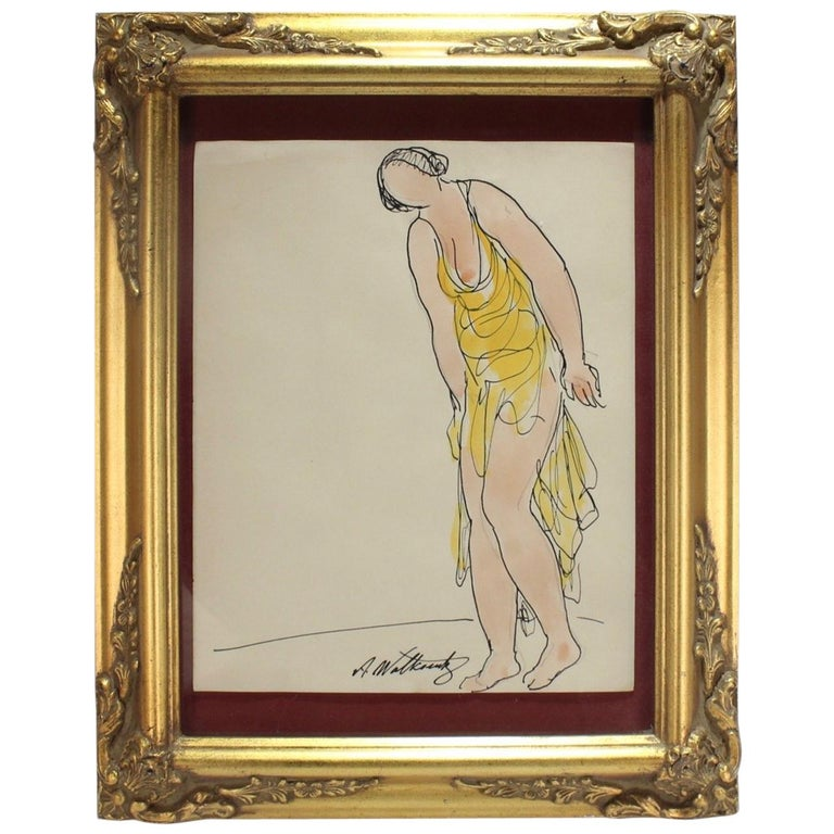Abraham Walkowitz Ink Drawing of Ballet Dancer Isadora Duncan in Yellow For Sale