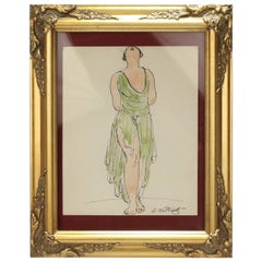 Abraham Walkowitz Ink Drawing of Ballet Dancer Isadora Duncan in Green