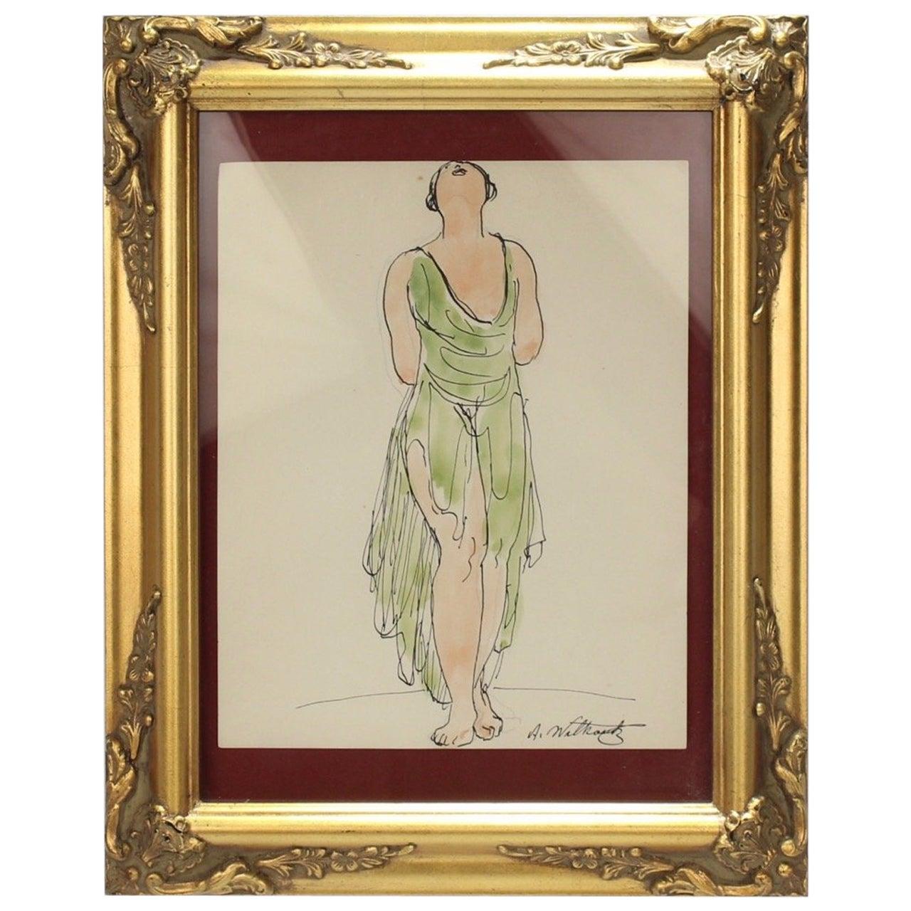 Abraham Walkowitz Ink Drawing of Ballet Dancer Isadora Duncan in Green