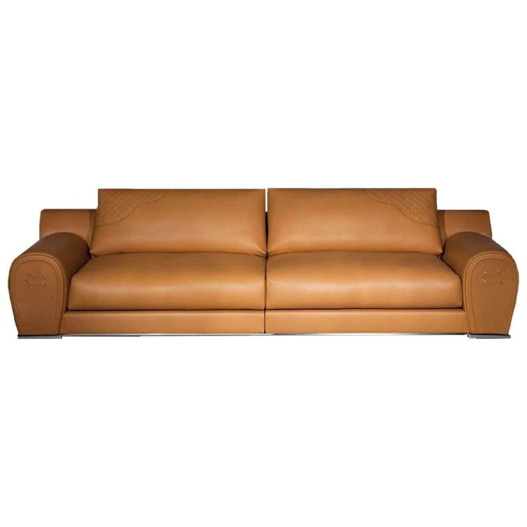 Fendi Casa Modular Sofa Varenne Cognac Saddle Leather Horse Villa Borghese Italy For Sale