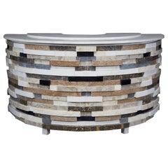 "Monumental Postmodern ""Postpile"" Tessellated Stone Semi-Circular Dry Bar, 1990s"