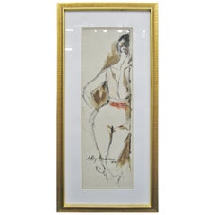 Striking 1950s Watercolor of a Woman by Leroy Neiman; Signed and Dated