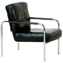 Midcentury Adjustable Chrome and Leather Lounge Chair