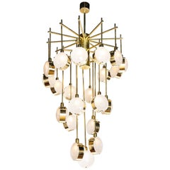 Brass and Murano Glass Globe Large Contemporary Spiral Chandelier, Italy