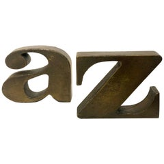 Solid Bronze Bookends A to Z Attributed to Curtis Jere