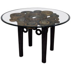 """Round """"Circles"""" Dining Table in Tessellated Stone and Natural Materials, 1990s"""