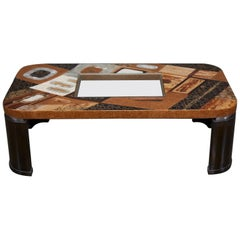 """""""Lifestyle"""" Coffee Table with Exotic Natural Inlay and Glass Insert, 1990s"""
