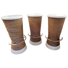 Three Nautical High Stools or Counter Stools, Rope and Steel Indoor Outdoor