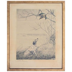 Vintage Handcolored Engraving Signed 'Setter et Canard Branche'; Leon Danchin