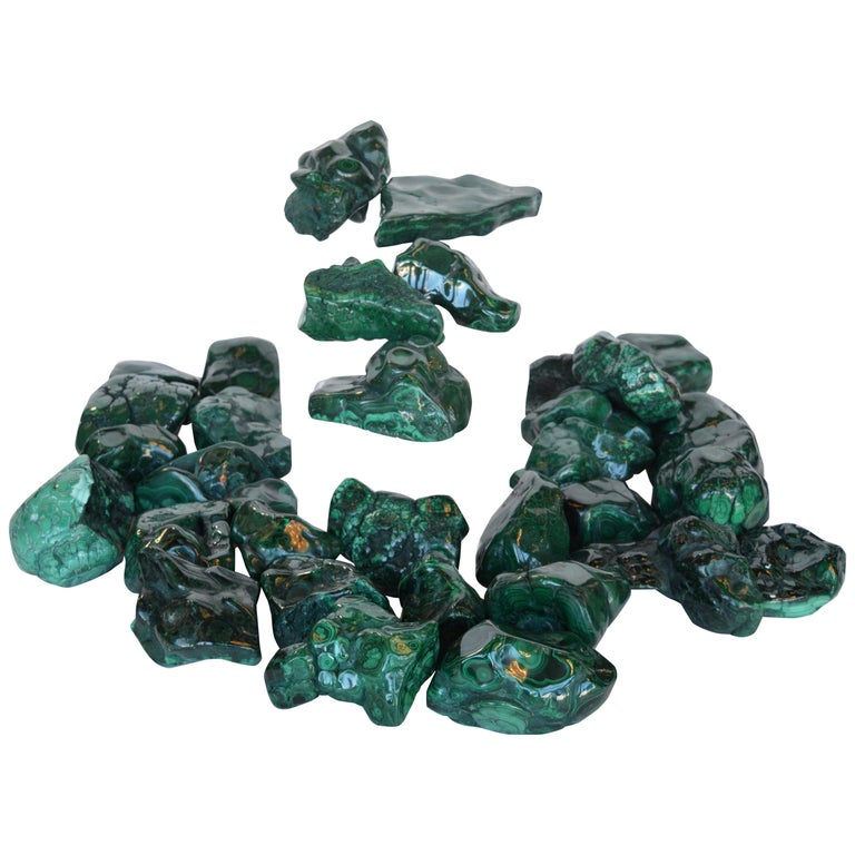 Collection of Polished Malachite Stones For Sale