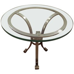 Italian Mid-Century Modern Chrome and Glass Side Table End Table