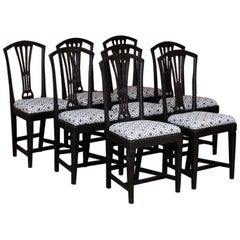Set of Eight Antique Black Painted Swedish Dining Chairs