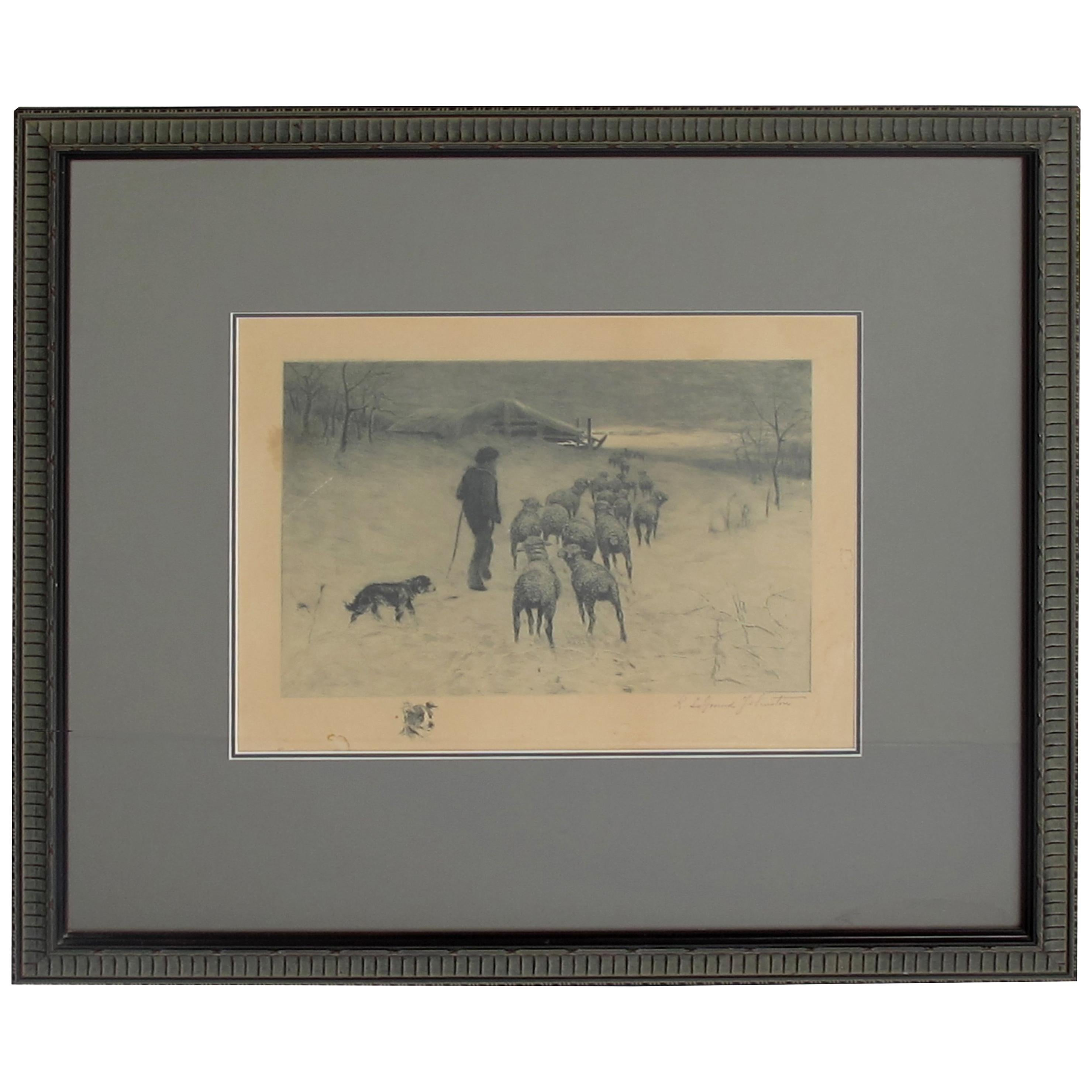 Henry Pruett Share Etching of Wintry Pastoral Scene; Signed R. Legrande Johnston