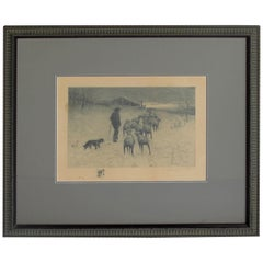 Henry Pruett Share Etching of Wintry Pastoral Scene; Signed R. Legrande Johnston
