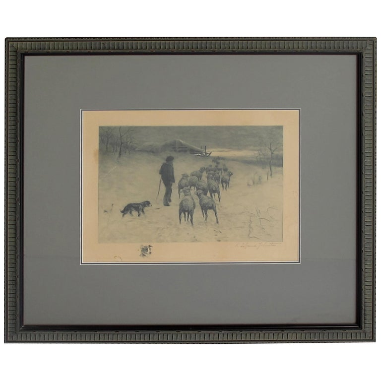 Henry Pruett Share Etching of Wintry Pastoral Scene; Signed R. Legrande Johnston For Sale