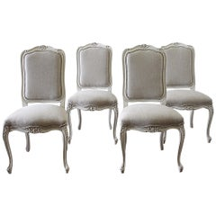 20th Century Set of 6 French Country Painted and Linen Upholstered Dining Chairs
