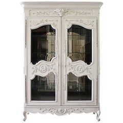 Vintage Painted French Style Display Armoire