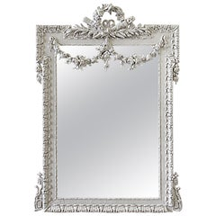 Early 20th Century Painted French Double Rose Swag Mirror