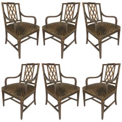 Mahogany Parcel Gilt Set of 6 Dining Chair, Slat Backs and Leopard Print Velvet