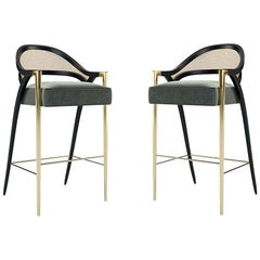 Contemporary Modern Rattan Counter Stool, Gold/Lacquer