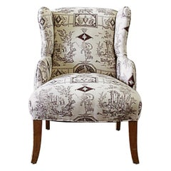 Vintage Petite Wing Chair Upholstered in Brown Toile Fabric