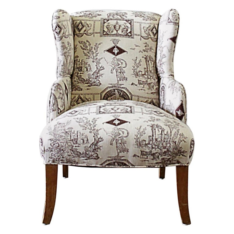 Tremendous Vintage Petite Wing Chair Upholstered In Brown Toile Fabric Caraccident5 Cool Chair Designs And Ideas Caraccident5Info