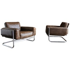 Leather Lounge Chairs by Sven Ivar Dysthe for Dokka Mobler Norway