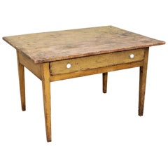 19th Century Original Mustard Painted Farm Table