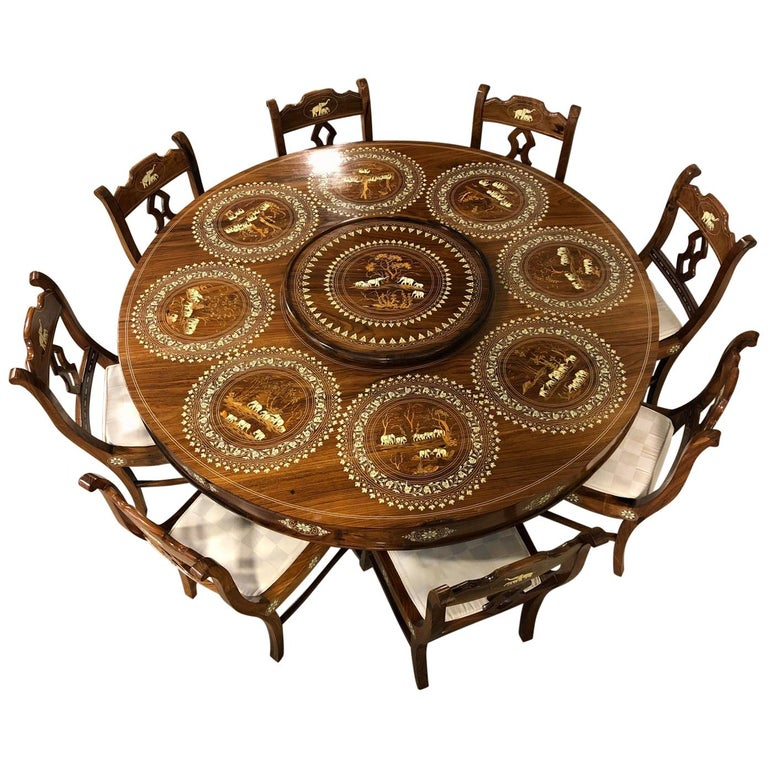 Dining Table And Chairs For Sale: Wood And Bone Inlaid Dining Table And Eight Chairs From