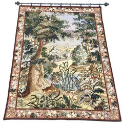 French Needlepoint Scenic Tapestry with Iron Rod