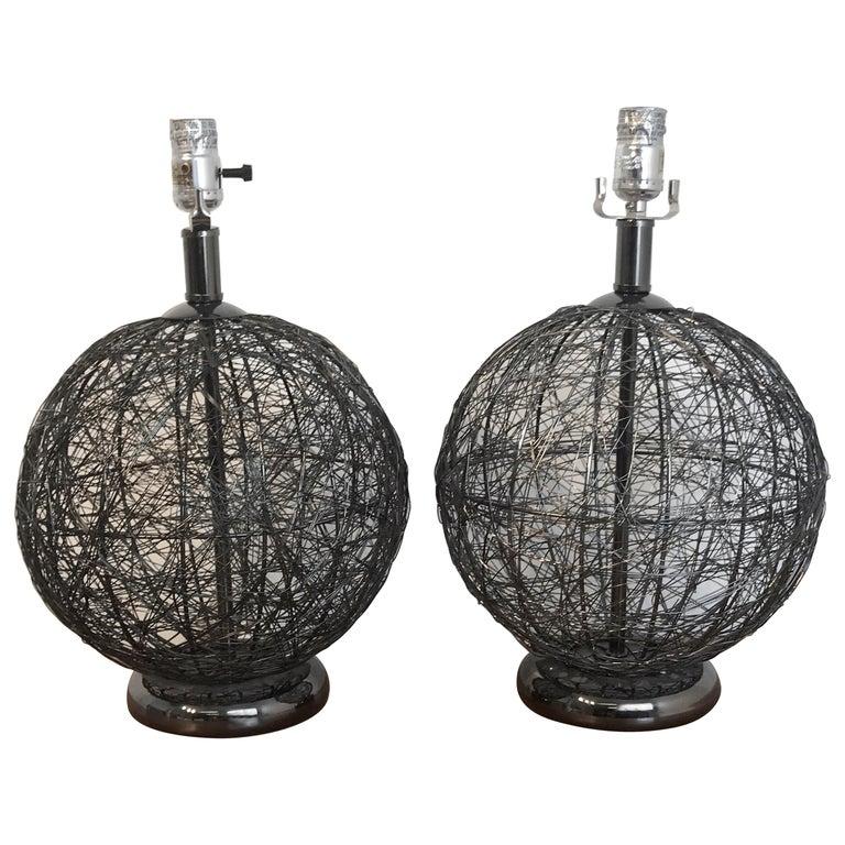 Pair of Midcentury Spun Gun Metal Sphere Lamps For Sale