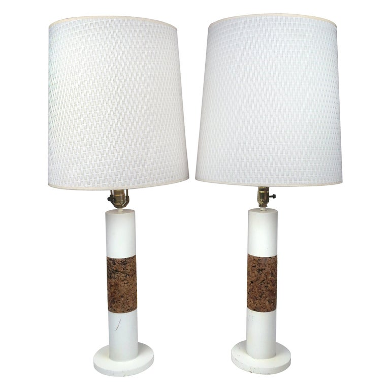 Pair of White Vintage Table Lamps with Cork Accents